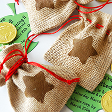 animal crossing bell bag invitations DIY - mypapercrane.com