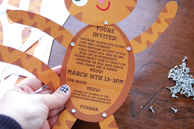 cat themed party invitations