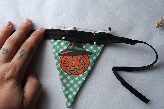Halloween Bunting halloween banner bunting tutorial 3 Now Take Some Double Fold Bias Tape I Used 14 Wide In Black 4 Yards Open The Bias Tape Up As Pictured And Pin In Place So The Edge Of The